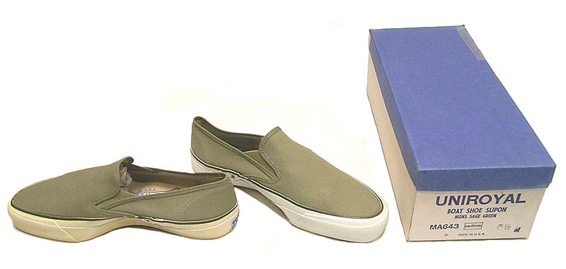 1: Deadstock 1970'S UNIROYAL BOAT SHOES SLIPON SAGE GREEN USA