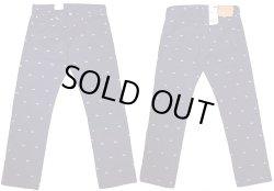 画像1: LEVI'S 511 STRIGHT Cotton Satin Jeans Sunset刺繍 総柄(紺×白) リーバイス