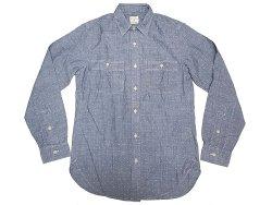 画像1: J.CREW Dot Blue Chambray Shirts  Chin-Strap One-Wash ドット抜染 柄