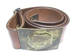 画像1: Ralph Lauren Brass Emblem Buckle Belt ラルフ・ローレン 本革ベルト イタリア製