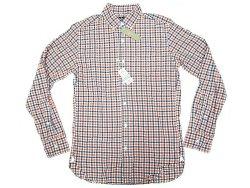 画像1: J.CREW 2-Ply Cotton Gingham B.D. Shirts 紺×朱赤×白 ボタン・ダウンシャツ