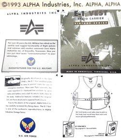 画像4: Deadstock 1993'S ALPHA VINTAGE VEST type E-1 ラジオ・ベスト 紺 USA製