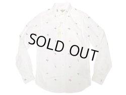 画像1: J.CREW Washed Oxford B.D. Shirts エビ他総柄 白 オックスフォード・ボタンダウン