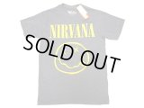 NIRVANA Tee Denim Heather ×Yellow Print 50/50 ニルヴァーナ T メキシコ製