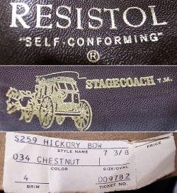 画像5: Deadstock 1980-90'S Resistol Hickory Bow Cowboy Hat レジストル アメリカ製