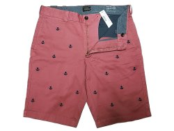 画像3: J.CREW STRETCH Shorts 錨刺繍総柄 サーモンピンク×紺 ストレッチ・ショーツ