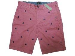 画像1: J.CREW STRETCH Shorts 錨刺繍総柄 サーモンピンク×紺 ストレッチ・ショーツ