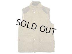 画像1: POLO Ralph Lauren Tweed Down Vest  ツイード 本革レザーヨーク ダウンベスト
