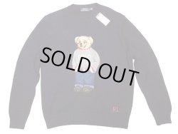 画像1: POLO Ralph Lauren BEAR Sweater ポロ・ベアークルーセーター 紺 リネン混