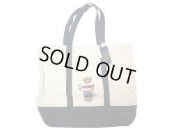 画像1: POLO BEAR TOTE BAG 2tone ポロ・ベアー 刺繍 キャンバス トートバック