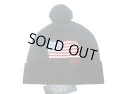 画像1: POLO  Ralph Lauren US.Flag KNIT HAT ポロ フラッグ ニットキャップ 紺