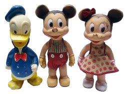 画像1: Mickey Minnie Donald 1955'S SUN RUBBER CO.サン・ラバー 3体セット USA製